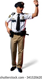 Angry African young man with short black hair in uniform holding handgun - Isolated