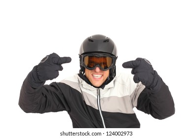 Angry and aggressive Skier isolated on white