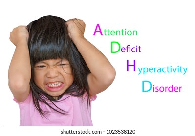 Angry Asian cute girl screaming after her mother take a tablet away. Stressed child, Kid with attention deficit hyperactivity disorder (ADHD) can't handle her emotion.