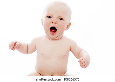 angry baby with white background