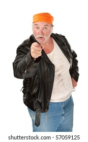 Angry biker gang member with leather jacket