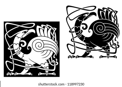Angry bird in celtic style with ornamental patterns and tracery. Vector version also available in gallery