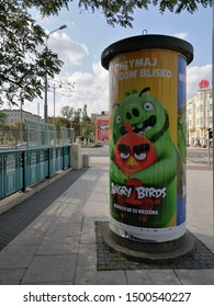 Angry Birds 2 animated movie advertisement poster on the Most Teatralny on circa September 2019 in Poznan, Poland.
