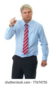 angry blonde businessman in blue shirt point to camera, isolated on white background