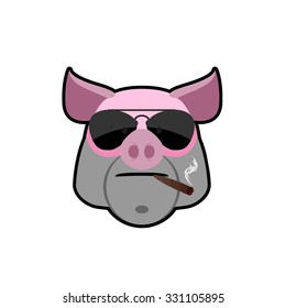 Angry boar. Pig head with glasses and a cigarette. Animal farm is a bully. Logo of the animal.