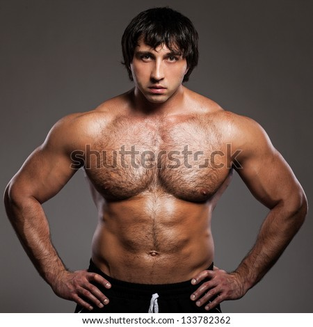 Angry Bodybuilder With Naked Torso