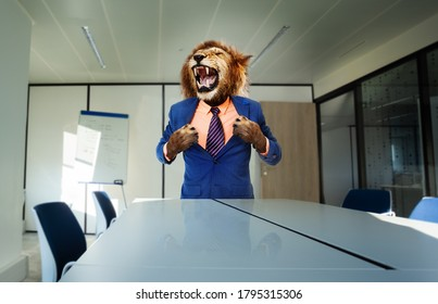 Angry boss concept with lion in the suit stand and tear shirt using paws near desk roaring