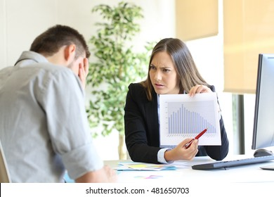 Angry boss showing a growth graph with bad results and scolding to an employee