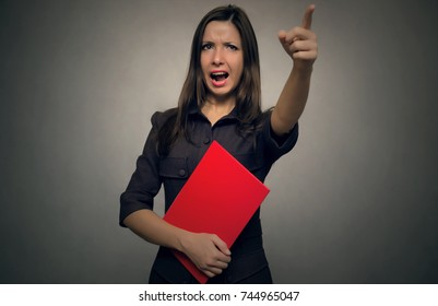 Angry boss women swears and screams on somebody and showing on exit by her hand. Bad executed job. You are fired concept. Chastise a bad worker concept.