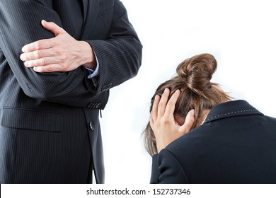 Angry boss and the worker opposite him