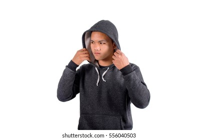An angry boy in hooded sweater