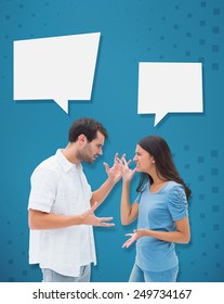 Angry brunette shouting at boyfriend against blue