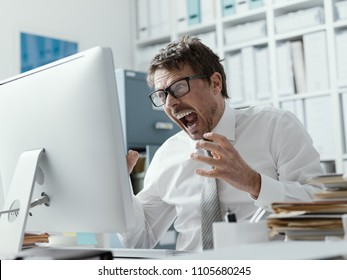 Angry business executive shouting at the computer, stressful job and system failure concept