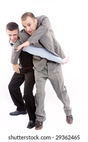 Angry business men fighting for the first place on a white background
