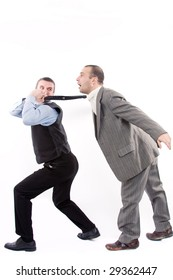 Angry business men fighting on a white background