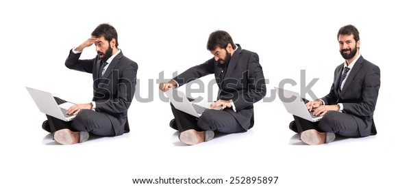 Angry Business men with laptop over white background