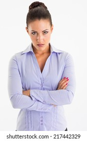 Angry business woman posing on white background