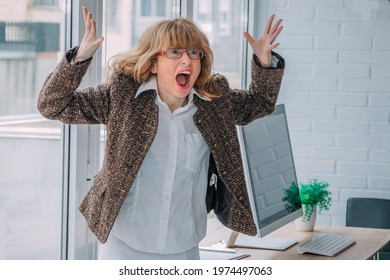 angry business woman screaming in the office