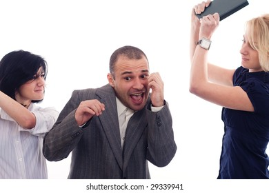 Angry business women fighting with a colleague
