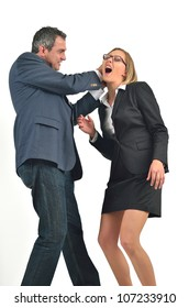 Angry businessman is hitting the businesswoman