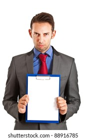 Angry businessman holding a blank card in which to put your text