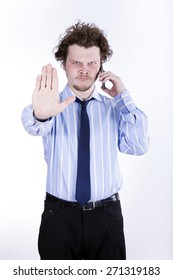 angry businessman over white background