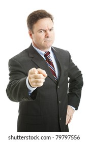 Angry businessman shakes his finger in a scolding way.  Isolated on white.