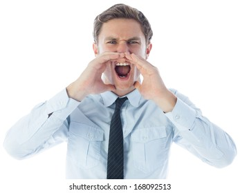 Angry businessman shouting on white background