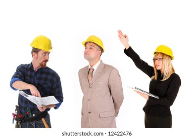 angry businesswoman,  businessman and construction workers with architectural plans