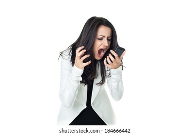 Angry businesswoman isolated  on a white background screaming on the phone