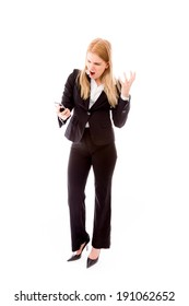 Angry businesswoman shouting on the mobile phone
