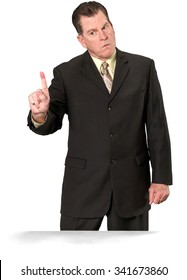 Angry Caucasian elderly man with short medium brown hair in business formal outfit waving finger - Isolated