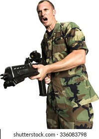 Angry Caucasian man with short dark brown hair in uniform aiming with rifle - Isolated