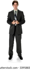 Angry Caucasian man with short dark brown hair in business formal outfit with hands holding lapels - Isolated