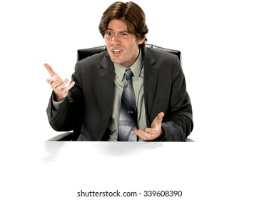 Angry Caucasian man with short dark brown hair in business formal outfit talking with hands - Isolated