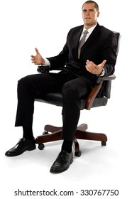 Angry Caucasian man with short medium brown hair in business formal outfit talking with hands - Isolated