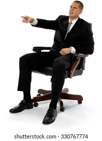 Angry Caucasian man with short medium brown hair in business formal outfit pointing using finger - Isolated