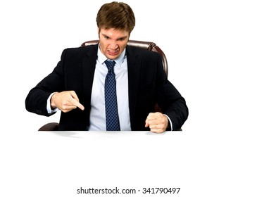Angry Caucasian man with short medium blond hair in business formal outfit pointing using finger - Isolated