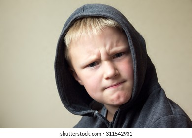 Angry child (boy, kid) portrait