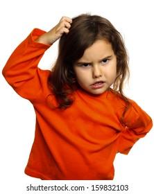 0ea5a4193 Portrait Child Think Scratch Confused Brunette Stock Photo (Edit Now ...