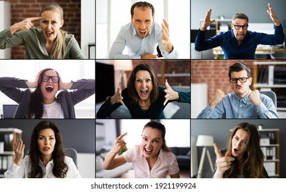 Angry Complaining Group Of Business People In Video Conference