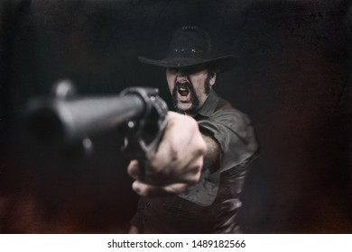 An angry cowboy aiming a revolver pistol and yelling.