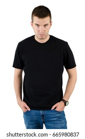 Angry dangerous man in black t-shirt template for your project. Man isolated on white background