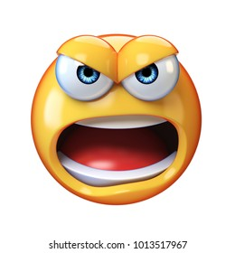 Angry emoji shouting isolated on white background, mad emoticon yelling 3d rendering