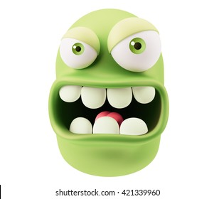 Angry Emoticon Face. 3d Rendering.
