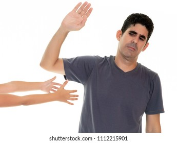 Angry father ignores his small daughter who offers to hug him - Isolated on white