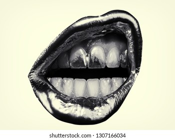 Angry female express emotions by lips. Lip make up with golden lipstick. Open mouth and white teeth. Dirty teeth of young woman. Black and white photo of girl lips isolated on white background.