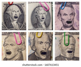 Angry founding fathers yelling in pictures on American money