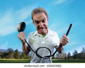 An angry, frustrated golfer bends his club into a knot. Wide-angle lens distortion adds humor to the subject.
