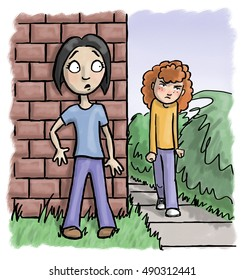 Angry girl approaches a worried girl hiding behind a wall.